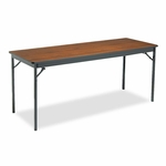Barricks Special Size Folding Table - Rectangular - 72w x 24d x 30h - Walnut/Black [BRKCL2472WA-FS-NAT]