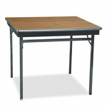 Barricks Special Size Folding Table - Square - 36w x 36d x 30h - Walnut/Black [BRKCL36WA-FS-NAT]
