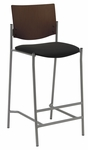 1300 Series Armless Barstool with Chocolate Wood Back - Grade 2 Upholstered Seat [BR1310SL-SP20-GR2-IFK]