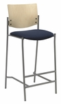 1300 Series Armless Barstool with Natural Wood Back - Grade 2 Upholstered Seat [BR1310SL-SP22-GR2-IFK]