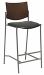 1300 Series Armless Barstool with Chocolate Wood Back - Vinyl Seat [BR1310SL-SP20-VINYL-IFK]
