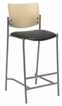 1300 Series Armless Barstool with Natural Wood Back - Vinyl Seat [BR1310SL-SP22-VINYL-IFK]