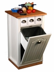 Beadboard Butcher Block Bin with Pantry [4124-FS-VH]
