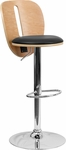 Beech Bentwood Adjustable Height Barstool with Black Vinyl Seat and Cutout Back [SD-2220-BEECH-GG]