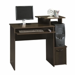 Beginnings 40''W x 34''H Wooden Computer Desk with Elevated Shelf - Cinnamon Cherry [408726-FS-SRTA]