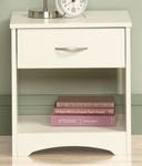 Beginnings 17''W x 18''H Wooden Night Stand with Easy-Glide Drawers and Open Shelf - Soft White [415543-FS-SRTA]