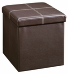 Beginnings DuraPlush Upholstered Small Square Ottoman with Internal Storage - Brown [414665-FS-SRTA]