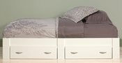 Beginnings 41''W x 13''H Wooden Twin Size Platform Bed with 2 Drawers - Soft White