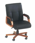Belmont Executive Leather Mid Back Chair - Executive Cherry [7130-81-FS-DMI]