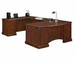 Belmont Executive Left U with Corner Desk - Brown Cherry [7132-848-FS-DMI]