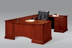 Belmont Right Executive Corner U Desk - Brown Cherry [7132-78-FS-DMI]