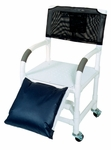 Below Knee Amputee Shower Chair with Flat stock Seat with Drain Holes and Casters- 22''W X 18''D X 40''H [118-3TW-AF-MJM]