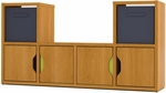 Generation TV Stand with Reversible Doors and Storage Baskets - Cappuccino Cherry [65601-1168-FS-BS]