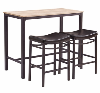 Betty 3 Piece Pub Table Set With Counter Height Saddle