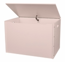 American Made Baltic Birch Plywood Big Toy Box with Carry Handles - Soft Pink