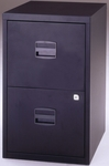 Bisley All Steel Two Drawer Locking Filing Cabinet - Black [FILE2-BK-FS-EOS]