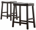 Black 24'' H Saddle Stool In Black Vinyl Cushion-Set Of 2 [5310BK-24-3A-2PC-FS-HOM]
