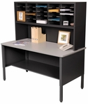 Mailroom 60'' W x 30'' D x 60'' H Literature Organizer and Riser with 25 Adjustable Slots - Black [UTIL0022-FS-MVL]