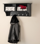 Wall Mounted 36''W Entryway Shelf with 2 Open Storage Compartments and 5 Hooks- Black [BEC-3616-FS-PP]