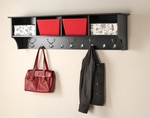 Hanging 60''W Entryway Shelf with 4 Open Storage Compartments and 9 Hooks - Black [BEC-6016-FS-PP]