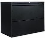 Alera® Two-Drawer Lateral File Cabinet- 36w x 19-1/4d x 29h - Black [ALELF3629BL-FS-NAT]