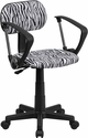 Black and White Zebra Print Computer Chair with Arms