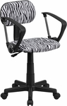 Black and White Zebra Print Swivel Task Chair with Arms [BT-Z-BK-A-GG]