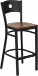 Black Circle Back Metal Restaurant Barstool with Cherry Wood Seat [BFDH-87CWBARRIC-TDR]