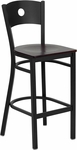 Black Circle Back Metal Restaurant Barstool with Mahogany Wood Seat [BFDH-87MWBARRIC-TDR]