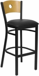 Black Circle Back Metal Restaurant Barstool with Natural Wood Back & Black Vinyl Seat [BFDH-77524BKBARRIC-TDR]