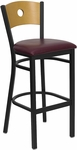 Black Circle Back Metal Restaurant Barstool with Natural Wood Back & Burgundy Vinyl Seat [BFDH-77524BYBARRIC-TDR]