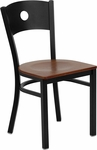 Black Circle Back Metal Restaurant Chair with Cherry Wood Seat [BFDH-87CWRIC-TDR]