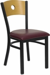 Black Circle Back Metal Restaurant Chair with Natural Wood Back & Burgundy Vinyl Seat [BFDH-77524BYRIC-TDR]