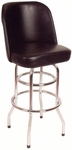 Swivel Barstool with Round Footstool - Black Vinyl [SR-5-BVS-SAT]