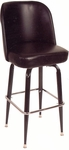Swivel Barstool with Square Footstool - Black Vinyl [SR-4-BVS-SAT]