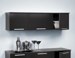 Coal Harbor Wall Mounted Hutch with Rectangular Metal Drawer Handles - Black [BCHW-0203-1-FS-PP]