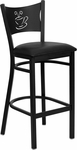 Black Coffee Back Metal Restaurant Barstool with Black Vinyl Seat [BFDH-88215BKBARFOC-TDR]