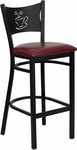 Black Coffee Back Metal Restaurant Barstool with Burgundy Vinyl Seat [BFDH-88215BYBARFOC-TDR]
