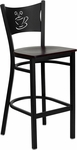 Black Coffee Back Metal Restaurant Barstool with Mahogany Wood Seat [BFDH-88215MWBARFOC-TDR]