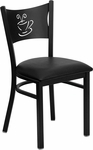 Black Coffee Back Metal Restaurant Chair with Black Vinyl Seat [BFDH-88215BKFOC-TDR]