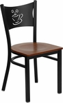 Black Coffee Back Metal Restaurant Chair with Cherry Wood Seat [BFDH-88215CWFOC-TDR]