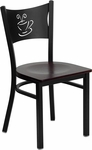 Black Coffee Back Metal Restaurant Chair with Mahogany Wood Seat [BFDH-88215MWFOC-TDR]