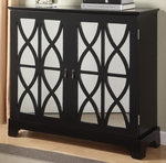 Black Console with Mirrored Glass Doors [246-254-FS-PO]