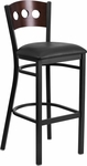 Black Decorative 3 Circle Back Metal Restaurant Barstool with Walnut Wood Back & Black Vinyl Seat [BFDH-90336-WAL-BAR-BK-TDR]