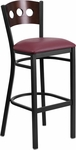 Black Decorative 3 Circle Back Metal Restaurant Barstool with Walnut Wood Back & Burgundy Vinyl Seat [BFDH-90336-WAL-BAR-BY-TDR]