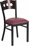 Black Decorative 3 Circle Back Metal Restaurant Chair with Walnut Wood Back & Burgundy Vinyl Seat [BFDH-90260-WAL-BY-TDR]