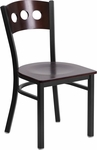 Black Decorative 3 Circle Back Metal Restaurant Chair with Walnut Wood Back & Seat [BFDH-90260-WAL-TDR]