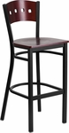 Black Decorative 4 Square Back Metal Restaurant Barstool with Mahogany Wood Back & Seat [BFDH-90335-MAH-BAR-TDR]