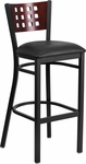 Black Decorative Cutout Back Metal Restaurant Barstool with Mahogany Wood Back & Black Vinyl Seat [BFDH-90778-MAH-BAR-BK-TDR]