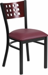 Black Decorative Cutout Back Metal Restaurant Chair with Mahogany Wood Back & Burgundy Vinyl Seat [BFDH-90778-MAH-BY-TDR]